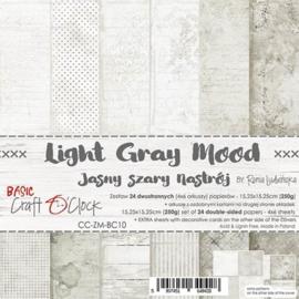 "CC-ZM-BC10 Paper Collection Set 6""*6"" Basic 10 - Light Grey Mood, 250 gsm (24 sheets, 12 designs, 4x6 double-sided sheets, bonus design - 2 sheets)"