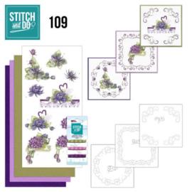 Stitch en Do nr. 109 - Paarse bloemen
