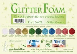 25.5268 Glitter foam sheets A4 Glitter Green - per vel