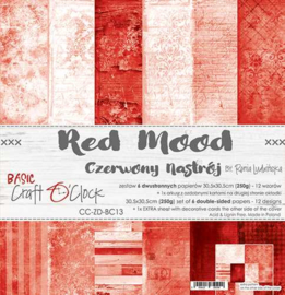 """CC-ZD-BC13 Paper Collection Set 12""""*12"""" Basic 13 - Red Mood, 250 gsm (6 double-sided sheets, 12 designs, bonus design 30,5x30,5 cm on the cover) PAKKETPOST!"""