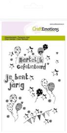 130501/1261 Clearstempel - Jarig Ballonnen Handlettering NL