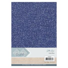 CDEGP013 Glitterkarton A4 250gr - Dark Blue  - 6 stuks - Card Deco