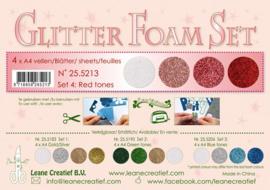 25.5213 Glitter Foam Set 4 - red / white colours - 4 vellen