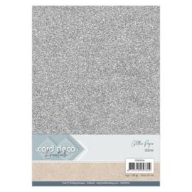 CDEGP014 Glitterkarton A4 250gr - Silver - 6 stuks - Card Deco