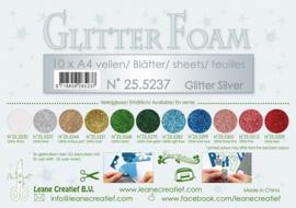 25.5237 Glitter foam sheets A4, Glitter Silver - 4 vellen