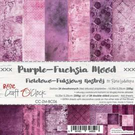 "CC-ZM-BC06 Paper Collection Set 6""*6"" Basic 06 - Purple-Fuchsia Mood, 250 gsm (24 sheets, 12 designs, 4x6 double-sided sheets, bonus design - 2 sheets)"