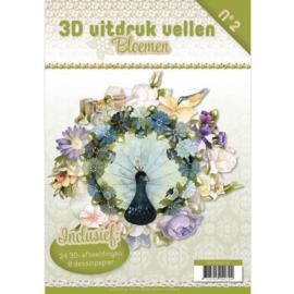 3DPO10002NL - 3D uitdruk vellen boek bloemen - Marieke