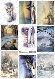 GH3342 Vintage vel - Winterlandschap (9 plaatjes) - Gerda's Hobbyshop