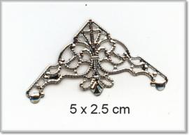Decorations Corner 50 - 5 stuks - 4x3cm - Zilver