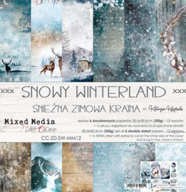 """CC-ZD-SW-MM12 Paper Collection Set 12""""*12"""" Snowy Winterland, Mixed Media, 250 gsm (6 double-sided sheets, 12 designs, bonus design 30,5x30,5 cm on the cover) - Pakketpost!"""