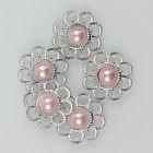 Zilveren bloem met parel - Licht Rose - 5 stuks