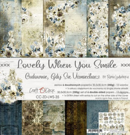 Lovely When Youre Smile - Paperpad 30,5 x 30,5 cm - Craft O Clock - PAKKETPOST!!!