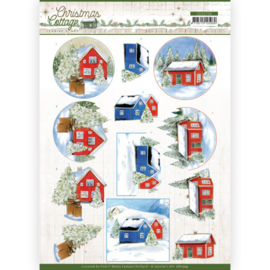 CD11724 3D vel A4 - Christmas Cottage- Jeanine's Art