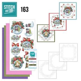 Stitch and Do 163 - Kerst - set voor 3 borduurkaarten