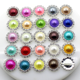 Rhinestone met parel 15mm - Fel Rose (21) - per stuk