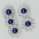 Zilveren bloem met parel - Blauw - 5 stuks
