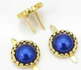 Parelbrad 12mm - Goud/Blauw - per stuk