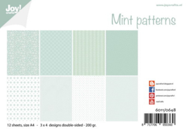 6011-0648 Mint Patterns - Papierset A4 - Joy Crafts
