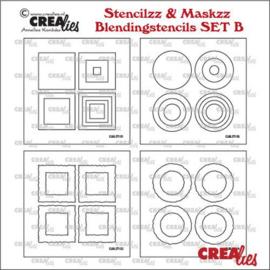 Stencilzz/Maskzz 4x Vierkant glad en ruwe randen CLSTMBLSETB 14,5 x 14,5 cm - Crealies