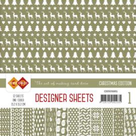 CDDSOG001 Designer Sheets 15x15cm - Olijf Groen - Card Deco