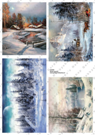 GH3350 Vintage vel - Winterlandschap Groot (4 plaatjes) - Gerda's Hobbyshop