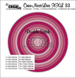XXL no. 33 Snijmal Cirkel Double Stitch - Crealies