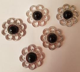 Zilveren bloem met parel - Zwart - 5 stuks
