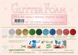 25.5305 Glitter foam sheets A4 Glitter Pastel Pink - per vel