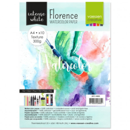 2911-4003 Watercolor Paper - 300 grams - A4 - 10stuks - Intens White - Florence - Vaessen Creative