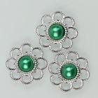 Zilveren bloem met parel - Groen - 5 stuks