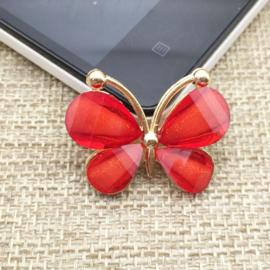 Vlinder Rhinestone - Rood - per stuk