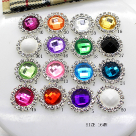 Rhinestone met Strass Facet 15mm - Rose (15)- per stuk