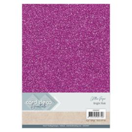 CDEGP007 Glitterkarton A4 250gr - Bright Pink  - 6 stuks - Card Deco