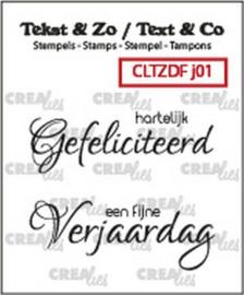 CLTZDFJ01 Clearstempel - Gefeliciteerd - Crealies