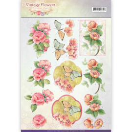 CD11046 Knipvel A4 - Vintage Flowers - Jenine's Art
