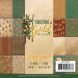 ADPP10027 Paperpad - Christmas Gold - Amy Design