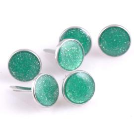 Enamal Brad Glitter met zilver - 10 stuks - Groen