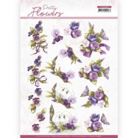 CD11582 3D vel A4  - Pretty Flowers - Marieke Design