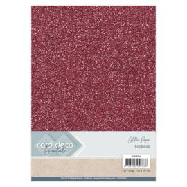 CDEGP016 Glitterkarton A4 250gr - Bordeaux  - 6 stuks - Card Deco