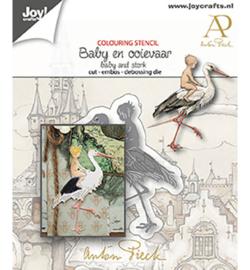 6002-1612 - Anton Pieck - Baby & Ooievaar - Joy Crafts