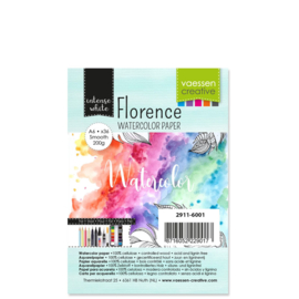 2911-6001 Watercolor Paper - 200 grams Smooth - A6 - 36stuks - Intens White - Florence - Vaessen Creative
