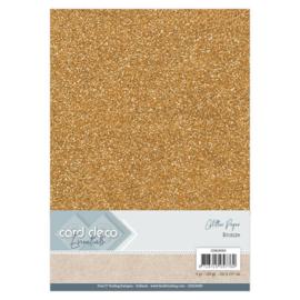 CDEGP009 Glitterkarton A4 250gr - Bronze  - 6 stuks - Card Deco