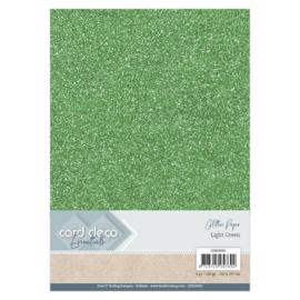 CDEGP002 Glitterkarton A4 250gr - Licht Groen  - 6 stuks - Card Deco