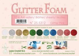 25.5312 Glitter foam sheets A4 Glitter Pink - per vel