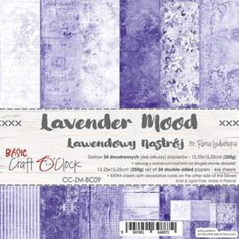 "CC-ZM-BC09 Paper Collection Set 6""*6"" Basic 09 - Lavender Mood, 250 gsm (24 sheets, 12 designs, 4x6 double-sided sheets, bonus design - 2 sheets)"