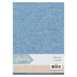 CDEGP012 Glitterkarton A4 250gr - Bright Blue  - 6 stuks - Card Deco
