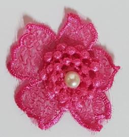 Kanten Bloemen Roze - 5 stuks