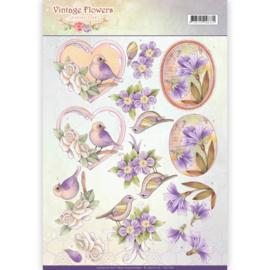 CD11048 Knipvel A4 - Vintage Flowers - Jenine's Art
