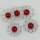 Zilveren bloem met parel - Rood - 5 stuks