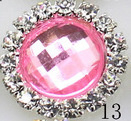 Rhinestone met Strass Facet 15mm - Licht Rose (13)- per stuk